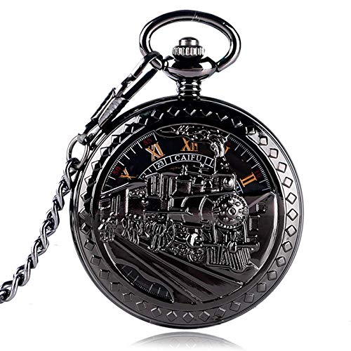 XYSQWZ Reloj De Bolsillo Retro Exquisito Esqueleto Corriendo Tren De Vapor Diseño Reloj De Bolsillo Negro Mujeres Hombres Cadena De Cuerda Manual Mecánica Regalo
