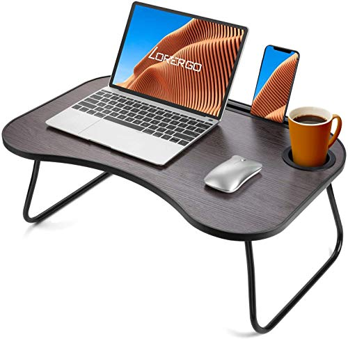 LORYERGO Lap Desk for Laptop - Lap Desk w/ Cup Holder, Laptop Lap Desk with Slot for Phone & Tablet, Lap Table for Bed, Suitable as Breakfast Tray, Writing Desk, Drawing Table for Floor & Bed