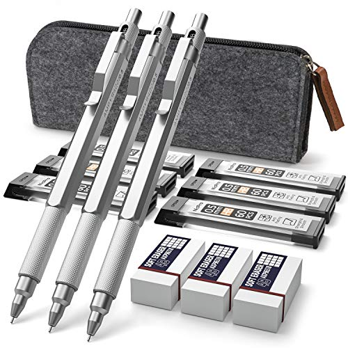 Nicpro Professional Series 0.7 mm Mechanical Pencils Graph Set With Carrying Bag,3 PCS Professional Metal Automatic Drafting Pencil With 6 Tubes HB Pencil Leads And 3 Erasers For Writing Draft, Drawing
