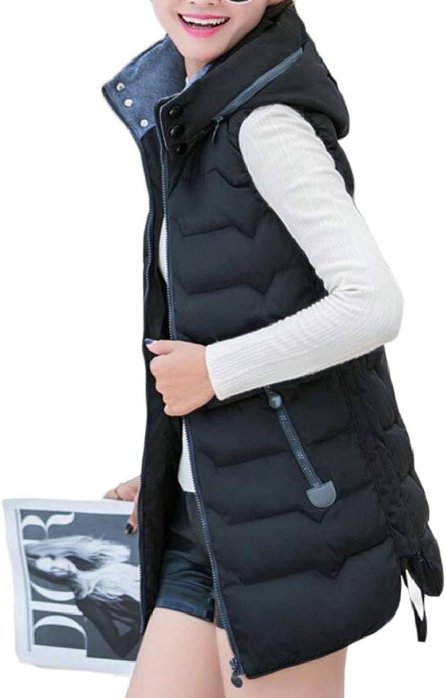 TDCACA Women's Hoodies Cotton Outdoor Mid Long Length Slim Fit Down Vest Coats