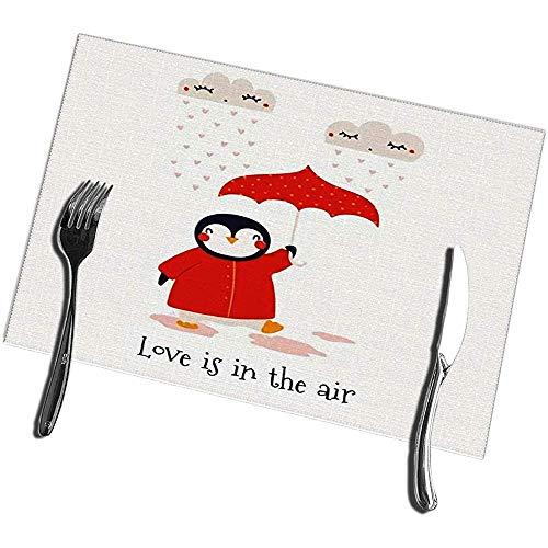 Placemats voor Eettafel Set van 6 Valentijnsdag Kaart met Leuke Pinguïn Paraplu Harten Tekst Liefde is in De Luchtwasbare Placemat 12X18IN