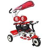 D-JIU Tricycle 2 en 1 pour Jumeaux Tricycle pour 2 Enfants Evolutif avec Para-Soleil Convient pour l'Age 18 Mois-36 Mois - 4Ans Capacité de Charge 30KG-Vert