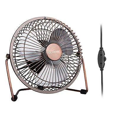 GLAMOURIC Portable Desk USB Powered Mini Fan Vintage Metal Cooler Fan Cooling Mute Quiet - Great for Desktop Tabletop Office & Travel