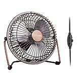 GLAMOURIC Desk Fan - 6 inch USB Quiet Desk Fan Retro Design Equipped with speed regulator(adjust...