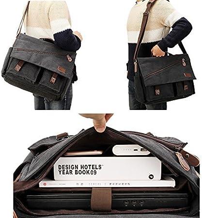 Bolsa de Mensajero Hombres,Bolsos Bandolera de Lona Unisex Resistente Al Agua para el Port/átil de 14 Pulgadas Bolso Vintage para Trabajo y Escuela