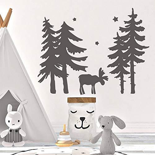 BailongXiao Vinilo adhesivo de pared con diseño de alce de árbol de dibujos animados para pared de vinilo desmontable, decoración de habitación de niño o dormitorio de 57 cm x 72 cm