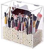 FOOCORDDY Covered Makeup Brush Holder with Dustproof Lid, Pearls Beads, Large Capacity Acrylic Clear Cosmetic Brush Storage Organizer for Vanity