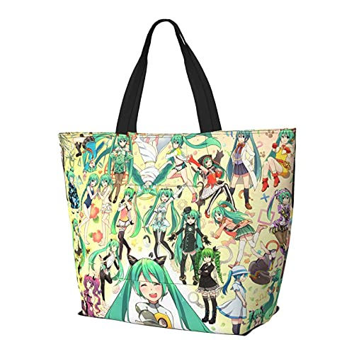 Vocaloid Hatsune Miku Bolsa de hombro multifuncional de gran capacidad bolso de la tableta Bolsas de semana Bolsa de viaje Bolsa de playa