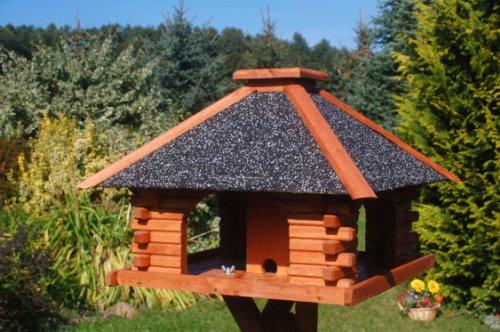 stabiles Futterhaus/Vogelhaus, imprägniert, mit Strukturputzdach mit Ständer - 2