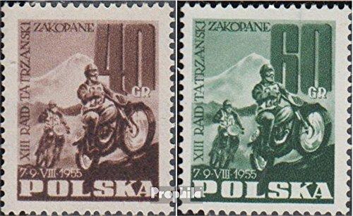 Prophila Collection Polen 928-929 (kompl.Ausg.) 1955 Motorrad Bergrennen (Briefmarken für Sammler) Straßenverkehr