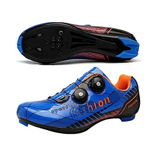 KUXUAN Zapatillas De Ciclismo De Carretera para Hombre - Zapatillas De Microtex Premium con Tacos Zapatillas De Spinning SPD para Hombre,Blue-EU46