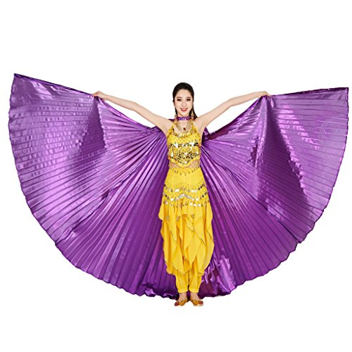 MUNAFIE Belly Dance Isis Wings with Sticks for Adult Belly Dance Costume Angel Wings for Halloween Carnival Performance Purple