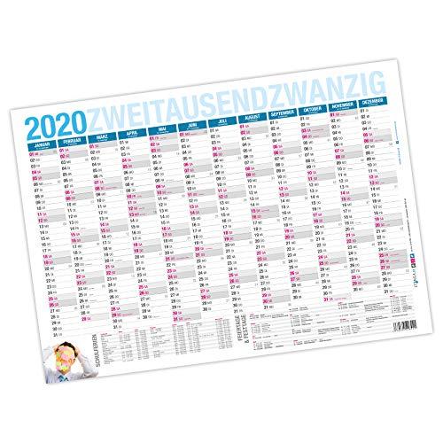 itenga XXL Premium Jahresplaner 2020 Wandkalender abwischbar DIN A0 (118,9x84,1cm) 250g/m² gerollt stabil blau