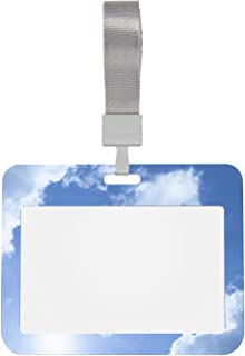 Supports d'identification pour badges Cheval en forme de nuage sur bleu vif protecteur de porte-cartes 4x3 avec lanière po...