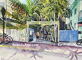 Blue Heaven Key West - Fine Art Wall Art Artwork Watercolor Art Print by Brenda Ann