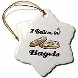 3dRose ORN_104754_1 I Believe in Bagels-Snowflake Ornament, Porcelain,...