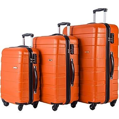 Merax MT Imagine Luggage Set 3 Piece Spinner Suitcase 20 24 28inch (Orange)
