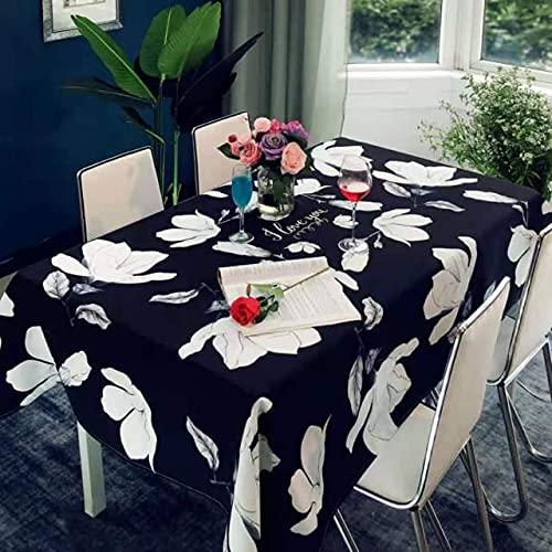 Manteles a Cuadros y Hechos a Mano, manteles de algodón escandinavos, Estampados de Magnolia Blanca para restaurantes y cafeterías 140x180cm como se Muestra