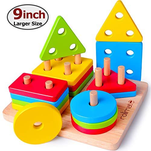 Rolimate Giocattolo di Legno, Montessori Istruttivo Puzzle di Legno, Forme Geometriche Impilatore Prescolare Giocattoli, Ordinamento e Accatastamento Regalo di Compleanno Viaggio per 2 3 4+ anni