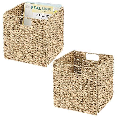 mDesign Juego de 2 cajas de almacenaje – Cajas organizadoras plegables hechas de junco marino – Cestas de almacenaje con patrón trenzado – Ideales para estanterías cuadradas – color bambú