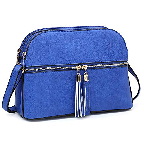 【UNIQUE DESIGN】Double slot Top Zipper Closure, Decorative zipper pull tassels in front compartment, Matching Gold tone hardware, accents and zipper pulls, Made of lightweight Soft and durable PU leather.Womens crossbody purse designed with tassel acc...