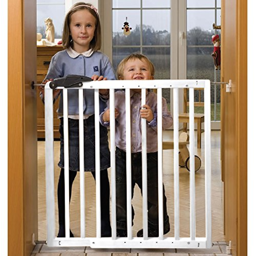 Barrera de seguridad Nicolas 78,5-113,5cm, de madera, blanca