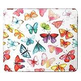 Alfombrilla de ratón multicolor, para juegos, cosida, pequeña con motivo, resistente al agua, para ordenador, ordenador portátil y ratón, diseño de mariposas multicolor