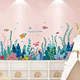 Amaonm Creative Cartoon Removable 3D Under The Sea World Nature Scenery Wall Stickers Ocean Grass Colorful Seaweed Baseboard Wall Decal for Wall Corner Nursery Room Bathroom Living Room (Seaweed)