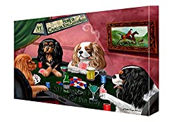 ホームのKing Charles Cavalier Spaniel Dogs Playing Pokerキャンバスギャラリーラップ1.5
