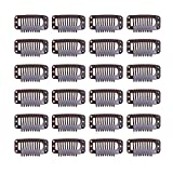 24 pcs/lot 32mm 9-teeth Hair Extension Clips Snap Comb Clips Metal Clips Wig Clips Hair Clips for Wigs Hair Extensions Hairpiece Wig Accessories Clips with Rubber Silicone Back (Dark Brown)