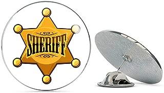 BRK Studio Cool Simple Golden Sheriff Star Badge Cartoon Icon Round Metal 0.75