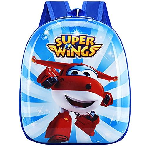 Tomicy Mochila Super Wings Mochila Infantil, Bolsa Impermeable 3D Mochila para Niños, Mochila para niños de Dibujos Animados Impermeable y Ajustable Adecuado para Niños y Niñas de 2 a 6 Años