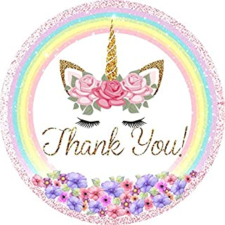 Unicorn Thank You Stickers-Magical Rainbow Unicorn Thank You Stickers for Kids- Unicorn Party Supplies Tags Birthday Party Favor Decor 48 Pack
