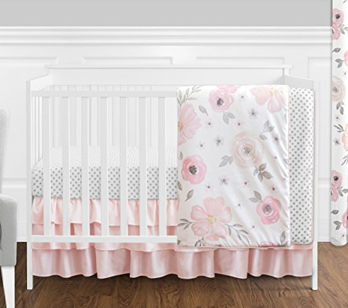 4 pc. Blush Pink, Grey and White Watercolor Floral Baby Girl Crib Bedding Set by Sweet Jojo Designs - Rose Flower Polka Dot