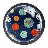 Juego de 4 pomos de armario de cocina de 1.18 pulgadas, pomos de cristal para cajones con kit de herramientas para muebles de dormitorio y cocina, Space Planet Universe