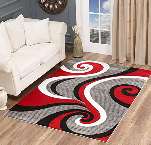 Golden Rugs Modern Area Rug Swirls Carpet Bedroom Living Room Contemporary Dining Accent Sevilla Collection 4817 (5x7, Red)