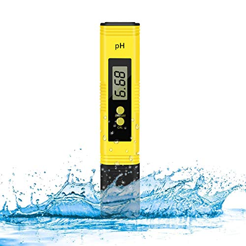 KWODE Digital PH Meter Water Quality Tester 0.01 Accuracy Measurement Range 0-14PH Automatic Temperature Compensation (ATC) High Accuracy for Household Drinking, Pool and Aquarium Water(Yellow)