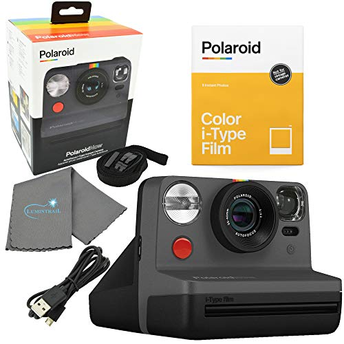 Polaroid Now I-Type Instant Film Camera - Black Bundle with a Color i-Type Film Pack (8 Instant Photos) and a Lumintrail Cleaning Cloth