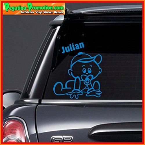 """Hochwertiger Namens Aufkleber \"""" Julian \"""" Autoaufkleber Name Aufkleber Wandtattoo Aufkleber für Glas,Lack,Tür und alle glatten Flächen, viele Farben zur Auswahl,Auto Sticker Baby an Bord, Kindername,Namensaufkleber"""