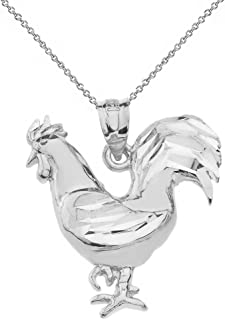 Polished 925 Sterling Silver Lucky Rooster Pendant Necklace