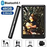 MP3 Player, 48GB MP3 MP4 Player with Bluetooth 5.1, 2.8'' Full Touch Screen HiFi Lossless MP3 Music Player, Portable Bluetooth MP3 Player with Built-in Speaker, FM Radio, Recorder, Support up to 128GB