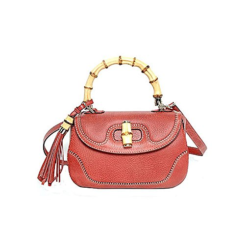Gucci Bamboo Large Top Handle Bag Coral Red Leather Handbag Shoulderbag, 254884