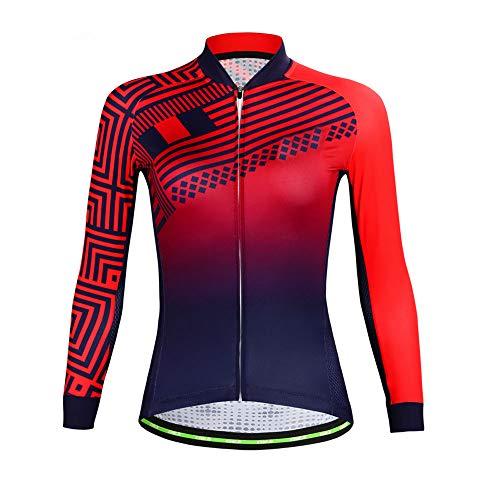 Rotes Radtrikot für Frauen, Winddicht, schnelltrocknend, langärmlig, Fahrradbekleidung, Sportbekleidung, Mountainbike-Bekleidung, während Fitness läuft