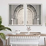 Moderne marokkanische Posterdruck Wandkunst Marrakesch Tür