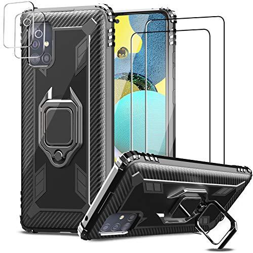 IMBZBK [5 PCS] 1pcs Funda para Samsung Galaxy A51 5G [No Apto para Galaxy A51 4G] + 2pcs Protector Pantalla Cristal Templado + 2pcs Protector de Lente de Cámara Protector cámara, [Soporte Giratorio]