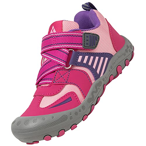 Mishansha Zapatos Colegio Niña Zapatillas de Montaña Ligeras Zapatos Niños Antideslizante Zapatos de Trekking Zapatillas de Senderismo B Rosa Gr. 27