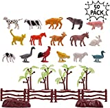 50 Plastik Bauernhof Tiere Spielzeug Tierfiguren für Kinder - inklusive Plastikeimer & Zubehör - Playset von Tieren für Partygeschenke & Strumpffüller usw