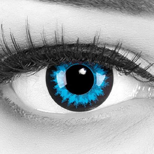 Funnylens 1 Paar farbige blaue hellblaue schwarze Crazy Fun Jahres Kontaktlinsen Blue Crystal mit schwarzem Rand und gratis Linsenbehälter. Perfekt zu Halloween, Karneval und Kostüm.