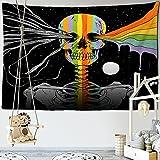 Skull King en Astronauta Tapiz de Flores Mandala Alfombra Hippie Adivinación Tarot Ouija Brujería Manta Colgante de Pared A4 230x180cm