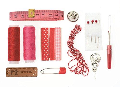GLOREX Kit de Couture Lili Rose, Polyester, Rouge, 14 x 8.6 x 2 cm